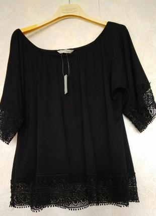 Базовая кружевная блуза футболка бренда george, размер 16