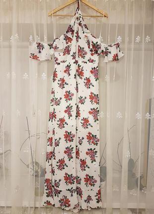Летнее шифоновое платье с открытыми плечиками и оборками в цветочный принт от h&m.