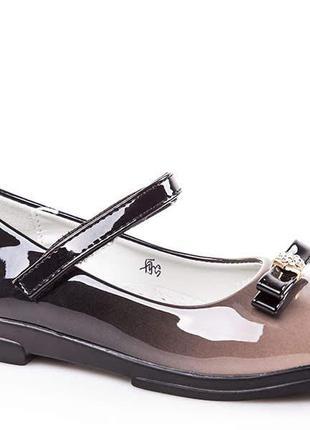 ae187705c Красивые лаковые туфли омбре градиент беж для девочки красиві лакові туфлі р .30-36