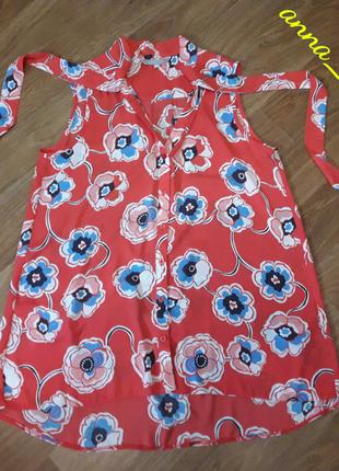 Шифоновая блуза маечка с цветами