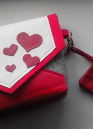 Маленькая сумочка из войлока и кожи + кошелечек