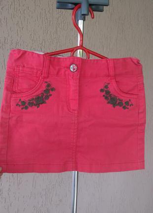Коралловая юбка topolino с вышивкой