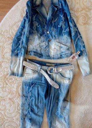 Женский джинсовый костюм турция комплект пиджак джинсы sale