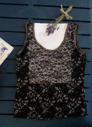 Топ майка блуза черная полупрозрачная с цветочным узором серебро
