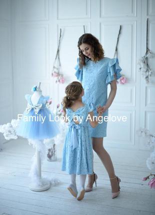 Нарядные платья familylook для мамы и дочки