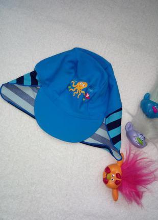 Пляжная кепка панамка голубого цвета р 18-24 мес