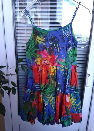 Сарафан платье в тропический принт