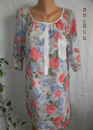 Тонкая шелковая блуза- туника италия
