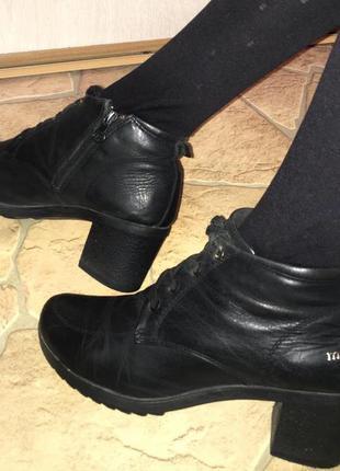 Ботинки полусапожки демисезонные на шнуровке на каблуке натуральная кожа чёрного цвета