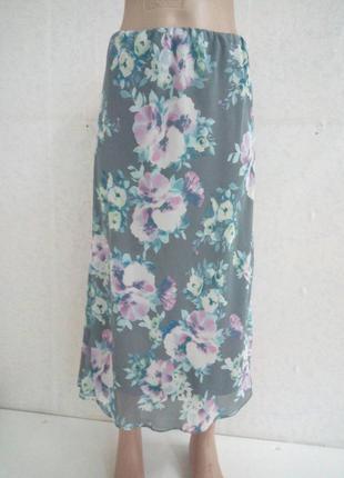 Легкая летняя юбка с цветочным принтом