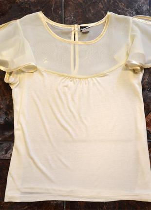 Блуза футболка bodyflirt  молочного цвета р. l bodyflirt