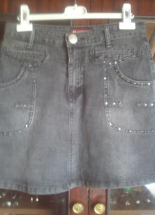 Юбка джинсовая со стразами пот-35см