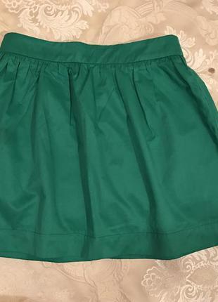 Летняя зелёная юбка колокольчик с высокой талией