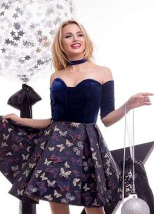 Шик! бархатное платье zuhvala! с чокером и выбитыми бабочками!