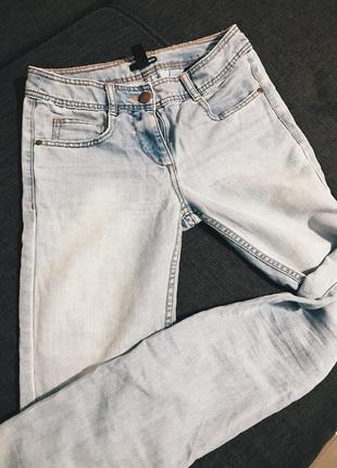 Небесно голубые скинни джинсы h&m