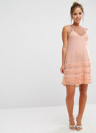 Гарячий розпродаж тільки до 15 вересня !! сетчатое платье с оборками asos petite