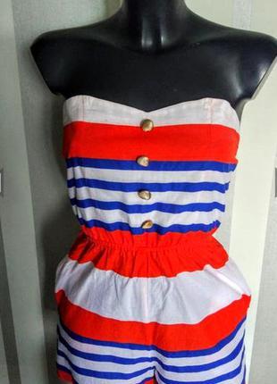 Клевый полосатый красно-сине- белый ромпер комбинезон с шортами 100% коттон