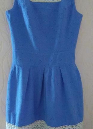 Лёгкое летнее хлопковое кружевное выбитое платье