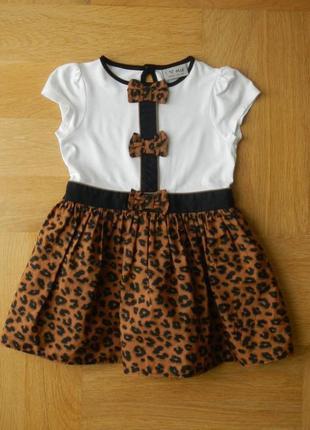 92-98 см next нарядное пышное платье леопардовое. длина - 50 см, пояс - 26 см.