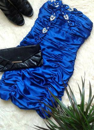 Шикарное вечернее/выпускное/коктейльное синее платье бюстье, 36 размер s, ses exsclusive