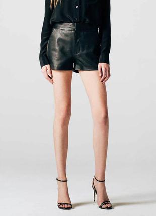 #202 черные шорты с пропиткой под кожу высокой посадки  top shop