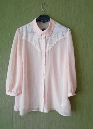 🌹 нежная пудренная блуза с перфорацией 🌹 рубашка