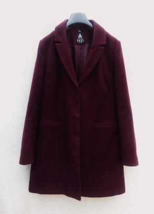 Шерстяное осеннее пальто бойфренд цвета марсала  оверсайз из шерсти boyfriend oversize