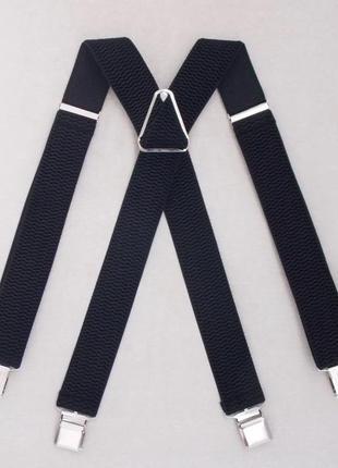 Черные широкие мужские подтяжки (арт. 305)