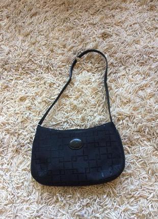 Маленькая чёрная сумка кожа+ текстиль