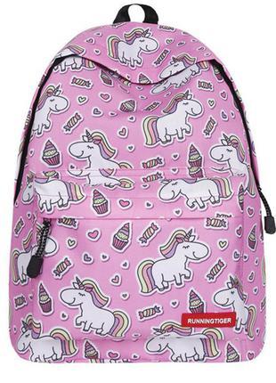 Рюкзак розовый с принтом единороги яркий цветной рисунок радуга пирожные мороженое