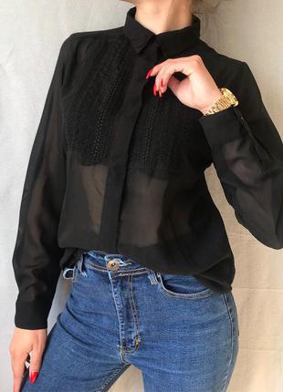 Шифоновая чёрная блуза рубашка