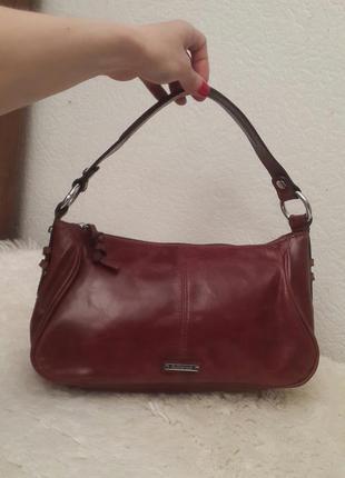 Шикарная кожаная сумка autograph от marks&spenset красивого коньячного цвета
