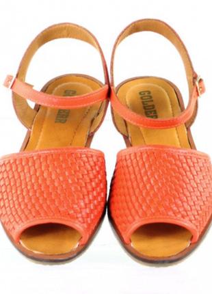 Роскошные кожаные босоножки натуральная кожа цвет сицилийский красный 37-40 р