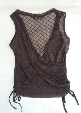 Коричневый кружевной гипюровый топ нарядная новогодняя кофточка футболка блуза майка сетка