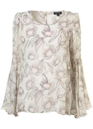 Topshop блуза в цветочный принт с расклешенными рукавами