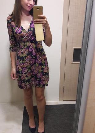 Милое платье на запах в цветы1