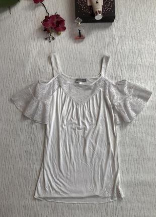 Rainbow красивая белая кофточка на лето с открытыми плечами