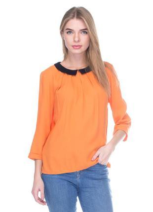 Оранжевая блуза с черным воротником и рукавом 3/4 promod pp 38, распродажа последняя!