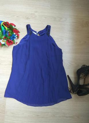 Нарядная синяя майка блузка плиссе promod pp xs(34) и рр 38 см.замеры,скидки!!