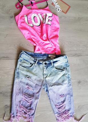 Велосипедки джинсовые удлиненные шорты с переходом цвета омбрэ 100% коттон .