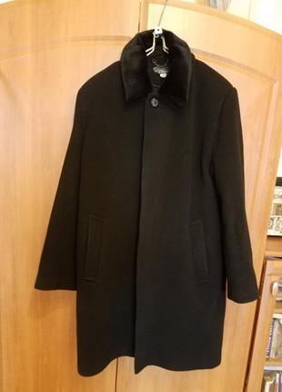 Классическое мужское зимнее пальто с воротником из норки р. 50