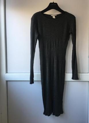 Стрейчевое платье миди h&m