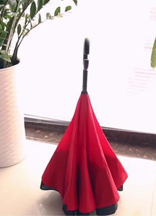 Смарт зонт наоборот upbrella антишторм  однотонный перевёртыш