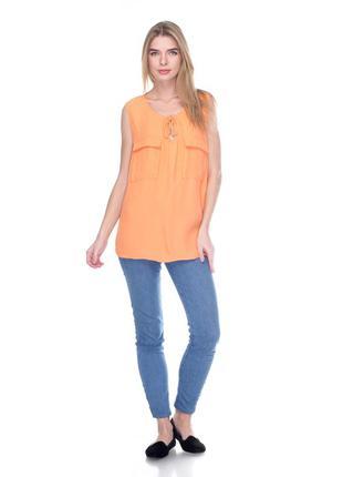 Оранжевая майка блуза с двумя карманами promod pp 40