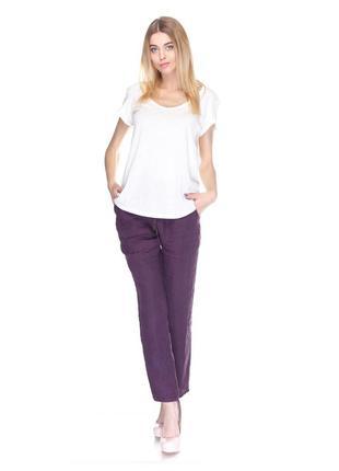 Легкие фиолетовые льняные брюки на резинке promod pp m (38), распродажа!