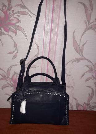 Шикарная синяя кожаная сумка collection debenhams