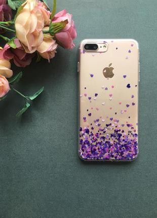 Нежный силиконовый чехол с сердечками на iphone 7 plus 8 plus