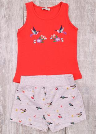 Комплект для девочки футболка шорты 3-7 лет