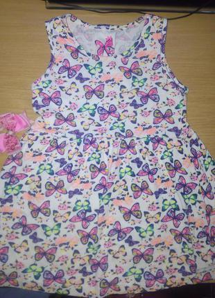 Милое платье в бабочку, очень яркое и стильное, летнее и легкое