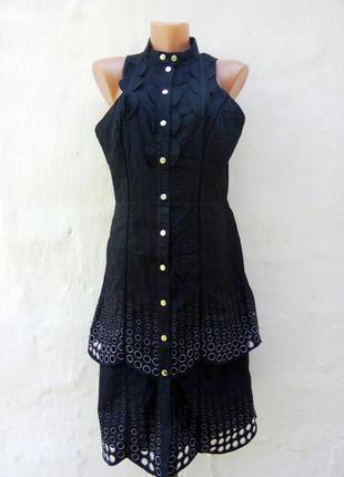 Красивое чёрное котоновое платье с вышевкой на кнопках,ярусы,сарафан,бренд.
